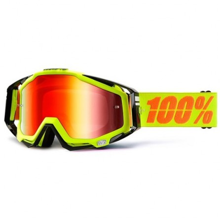 Mascherina 100% Racecraft + Lente Omaggio + 20 Tear-offs Yellow Fluo - Black
